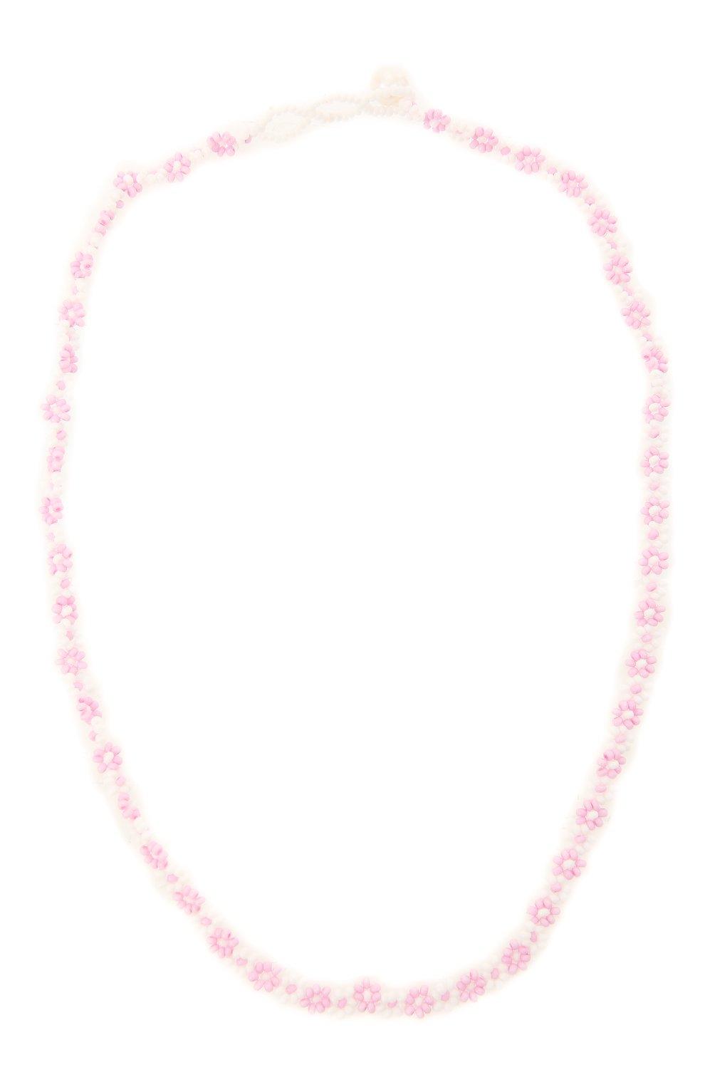 Женское чокер ромашка HIAYNDERFYT розового цвета, арт. 1-3PRM   Фото 1 (Материал: Стекло)