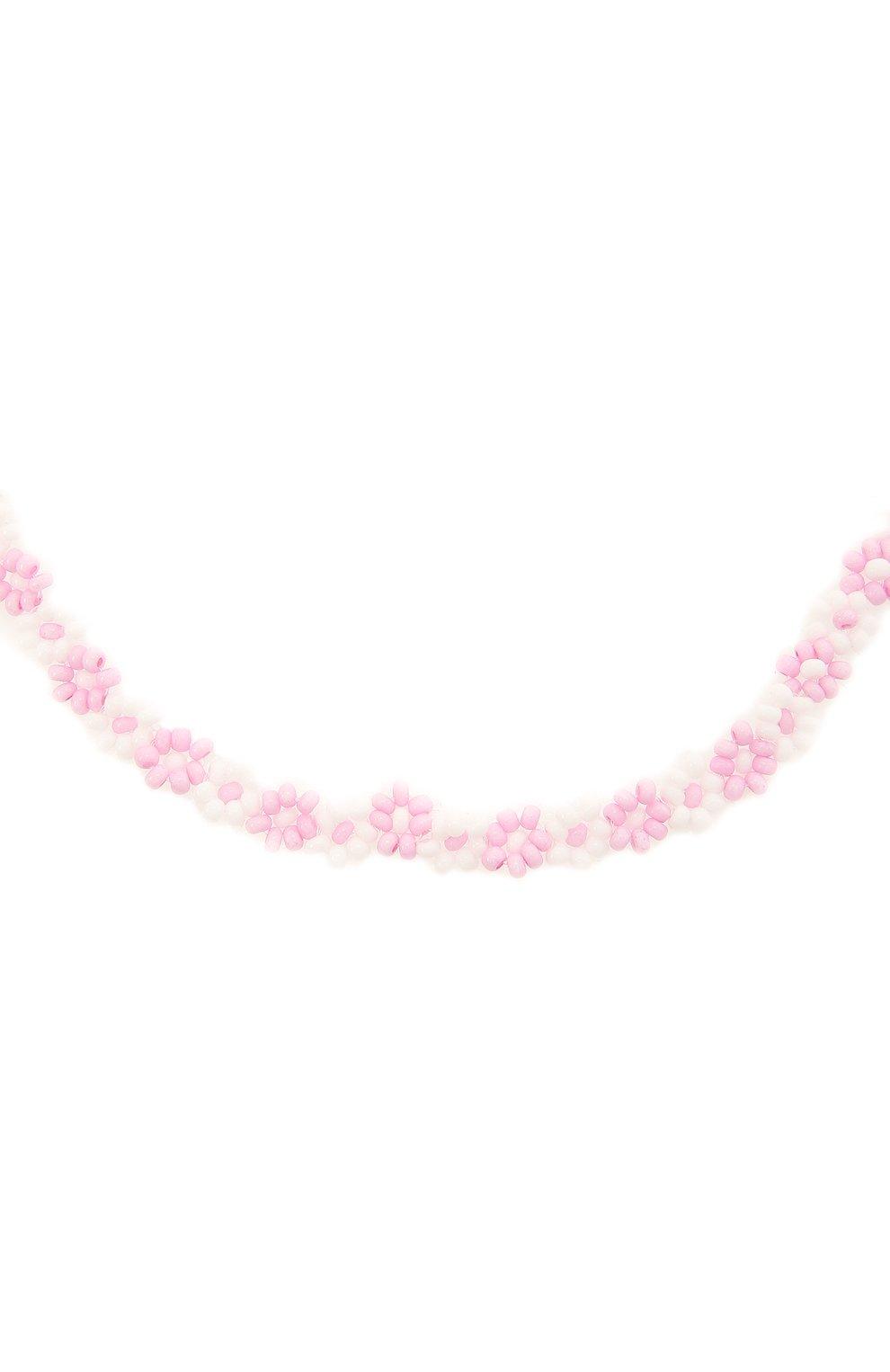 Женское чокер ромашка HIAYNDERFYT розового цвета, арт. 1-3PRM   Фото 2 (Материал: Стекло)