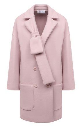 Женское шерстяное пальто REDVALENTINO светло-розового цвета, арт. WR3CAD60/5Y6   Фото 1 (Материал внешний: Шерсть; Рукава: Длинные; Стили: Романтичный; Длина (верхняя одежда): До середины бедра; 1-2-бортные: Двубортные)