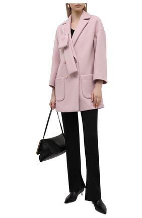 Женское шерстяное пальто REDVALENTINO светло-розового цвета, арт. WR3CAD60/5Y6   Фото 2 (Материал внешний: Шерсть; Рукава: Длинные; Стили: Романтичный; Длина (верхняя одежда): До середины бедра; 1-2-бортные: Двубортные)