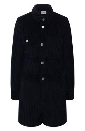 Женский хлопковый комбинезон REDVALENTINO темно-синего цвета, арт. WR3VEB35/5YD   Фото 1 (Материал внешний: Хлопок; Случай: Повседневный; Рукава: Длинные; Женское Кросс-КТ: Комбинезон-одежда; Стили: Гламурный; Длина (брюки, джинсы): Укороченные)