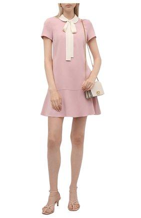 Женское платье REDVALENTINO светло-розового цвета, арт. WR3VAF05/3TG   Фото 2 (Материал внешний: Синтетический материал; Случай: Формальный; Стили: Романтичный; Рукава: Короткие; Женское Кросс-КТ: Платье-одежда; Длина Ж (юбки, платья, шорты): Мини)