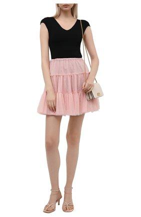 Женская юбка REDVALENTINO светло-розового цвета, арт. WR3RAG85/5MM   Фото 2 (Материал внешний: Синтетический материал; Материал подклада: Синтетический материал; Стили: Романтичный; Женское Кросс-КТ: Юбка-одежда; Длина Ж (юбки, платья, шорты): Мини)