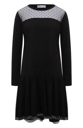 Женское хлопковое платье REDVALENTINO черного цвета, арт. WR3MJ07L/61V   Фото 1 (Материал внешний: Хлопок; Случай: Повседневный; Длина Ж (юбки, платья, шорты): Мини; Женское Кросс-КТ: Платье-одежда; Рукава: Длинные)