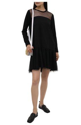 Женское хлопковое платье REDVALENTINO черного цвета, арт. WR3MJ07L/61V   Фото 2 (Материал внешний: Хлопок; Случай: Повседневный; Длина Ж (юбки, платья, шорты): Мини; Женское Кросс-КТ: Платье-одежда; Рукава: Длинные)