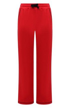 Женские хлопковые брюки REDVALENTINO красного цвета, арт. WR3MD01V/61W | Фото 1 (Длина (брюки, джинсы): Стандартные; Материал внешний: Хлопок; Силуэт Ж (брюки и джинсы): Расклешенные; Кросс-КТ: Трикотаж; Стили: Спорт-шик; Женское Кросс-КТ: Брюки-одежда)