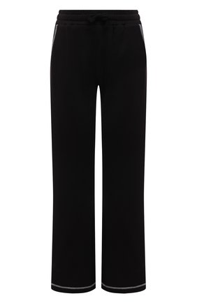 Женские хлопковые брюки REDVALENTINO черного цвета, арт. WR3MD01V/61W | Фото 1 (Материал внешний: Хлопок; Длина (брюки, джинсы): Стандартные; Силуэт Ж (брюки и джинсы): Расклешенные; Стили: Спорт-шик; Кросс-КТ: Трикотаж; Женское Кросс-КТ: Брюки-одежда)