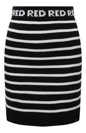 Женская юбка REDVALENTINO черно-белого цвета, арт. WR3KG00I/63Q | Фото 1 (Материал внешний: Синтетический материал, Шерсть; Длина Ж (юбки, платья, шорты): Мини; Стили: Спорт-шик; Кросс-КТ: Трикотаж)
