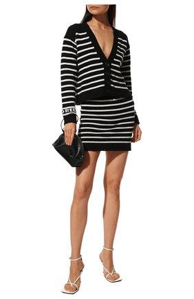 Женская юбка REDVALENTINO черно-белого цвета, арт. WR3KG00I/63Q | Фото 2 (Материал внешний: Синтетический материал, Шерсть; Длина Ж (юбки, платья, шорты): Мини; Стили: Спорт-шик; Кросс-КТ: Трикотаж)