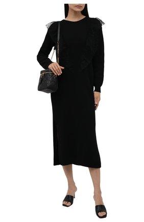 Женское платье REDVALENTINO черного цвета, арт. WR3KD02Y/64E | Фото 2 (Материал внешний: Шерсть, Синтетический материал, Вискоза; Случай: Повседневный; Рукава: Длинные; Женское Кросс-КТ: Платье-одежда; Длина Ж (юбки, платья, шорты): Миди; Стили: Романтичный)