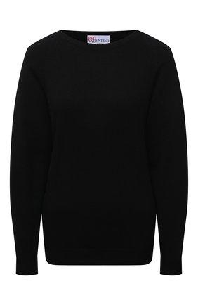 Женский пуловер REDVALENTINO черного цвета, арт. WR3KC08D/64G | Фото 1 (Материал внешний: Синтетический материал, Шерсть, Вискоза; Длина (для топов): Стандартные; Рукава: Длинные; Стили: Спорт-шик; Женское Кросс-КТ: Пуловер-одежда)