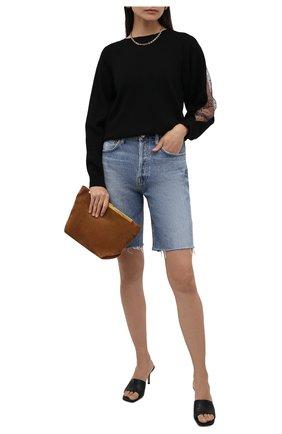 Женский пуловер REDVALENTINO черного цвета, арт. WR3KC08D/64G | Фото 2 (Материал внешний: Синтетический материал, Шерсть, Вискоза; Длина (для топов): Стандартные; Рукава: Длинные; Стили: Спорт-шик; Женское Кросс-КТ: Пуловер-одежда)