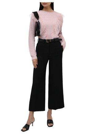 Женский пуловер REDVALENTINO светло-розового цвета, арт. WR3KC07Z/64E | Фото 2 (Длина (для топов): Стандартные; Материал внешний: Синтетический материал, Шерсть, Вискоза; Женское Кросс-КТ: Пуловер-одежда; Рукава: Длинные; Стили: Романтичный)