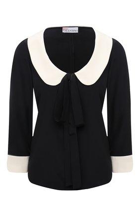 Женская шелковая блузка REDVALENTINO черного цвета, арт. WR3ABG80/48P | Фото 1 (Длина (для топов): Стандартные; Материал внешний: Шелк; Принт: Без принта; Рукава: 3/4; Женское Кросс-КТ: Блуза-одежда; Стили: Гламурный)