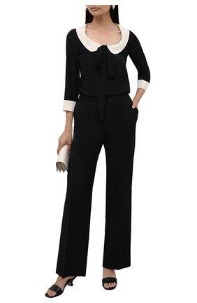 Женская шелковая блузка REDVALENTINO черного цвета, арт. WR3ABG80/48P | Фото 2 (Длина (для топов): Стандартные; Материал внешний: Шелк; Принт: Без принта; Рукава: 3/4; Женское Кросс-КТ: Блуза-одежда; Стили: Гламурный)