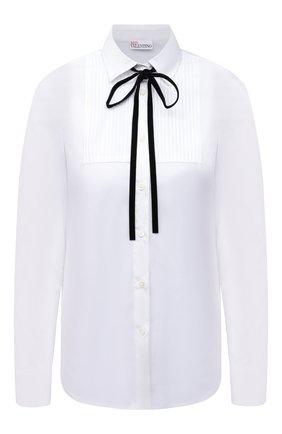 Женская хлопковая рубашка REDVALENTINO белого цвета, арт. WR3ABF55/01Y   Фото 1 (Материал внешний: Хлопок; Длина (для топов): Стандартные; Принт: Без принта; Рукава: Длинные; Стили: Романтичный; Женское Кросс-КТ: Рубашка-одежда)