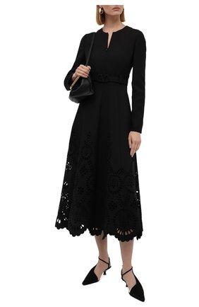 Женское платье из шерсти и шелка VALENTINO черного цвета, арт. WB3VAW636GR | Фото 2