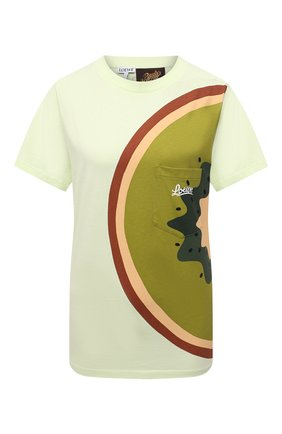 Женская хлопковая футболка loewe x paula's ibiza LOEWE зеленого цвета, арт. S616Y22X20 | Фото 1 (Рукава: Короткие; Материал внешний: Хлопок; Длина (для топов): Стандартные; Стили: Спорт-шик)