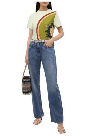Женская хлопковая футболка loewe x paula's ibiza LOEWE зеленого цвета, арт. S616Y22X20 | Фото 2 (Рукава: Короткие; Материал внешний: Хлопок; Длина (для топов): Стандартные; Стили: Спорт-шик)