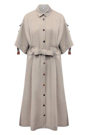Женское льняное платье LOEWE бежевого цвета, арт. S359335XFU | Фото 1 (Материал внешний: Лен; Длина Ж (юбки, платья, шорты): Миди; Стили: Бохо; Случай: Повседневный; Женское Кросс-КТ: Платье-одежда; Рукава: Короткие)
