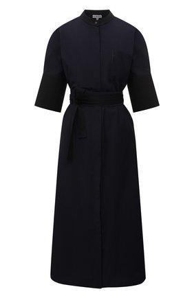 Женское хлопковое платье LOEWE темно-синего цвета, арт. S359335XFC | Фото 1 (Длина Ж (юбки, платья, шорты): Миди; Материал внешний: Хлопок; Стили: Кэжуэл; Случай: Повседневный; Женское Кросс-КТ: Платье-одежда; Рукава: Короткие)