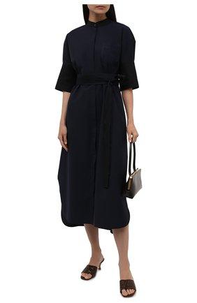 Женское хлопковое платье LOEWE темно-синего цвета, арт. S359335XFC | Фото 2 (Длина Ж (юбки, платья, шорты): Миди; Материал внешний: Хлопок; Стили: Кэжуэл; Случай: Повседневный; Женское Кросс-КТ: Платье-одежда; Рукава: Короткие)