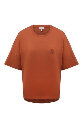 Женская хлопковая футболка LOEWE коричневого цвета, арт. S359333XC9 | Фото 1 (Длина (для топов): Стандартные; Рукава: Короткие; Материал внешний: Хлопок; Стили: Спорт-шик; Принт: Без принта)