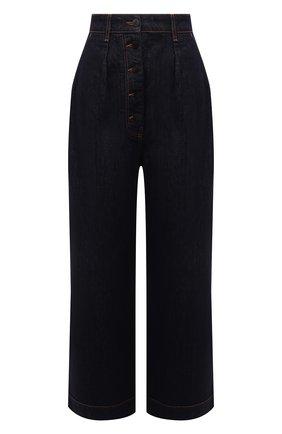 Женские джинсы LOEWE темно-синего цвета, арт. S359331XD8 | Фото 1 (Материал внешний: Хлопок; Длина (брюки, джинсы): Стандартные; Стили: Бохо; Силуэт Ж (брюки и джинсы): Широкие)