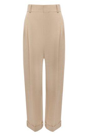 Женские брюки из хлопка и льна CHLOÉ бежевого цвета, арт. CHC21APA69045   Фото 1