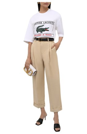 Женские брюки из хлопка и льна CHLOÉ бежевого цвета, арт. CHC21APA69045   Фото 2