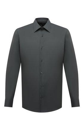 Мужская хлопковая сорочка BOSS темно-зеленого цвета, арт. 50445840 | Фото 1