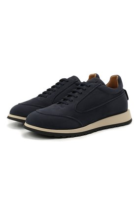 Мужские кожаные кроссовки GIORGIO ARMANI темно-синего цвета, арт. X2X150/XF572 | Фото 1 (Материал внутренний: Натуральная кожа; Стили: Классический; Подошва: Массивная)