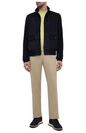 Мужские кожаные кроссовки GIORGIO ARMANI темно-синего цвета, арт. X2X150/XF572 | Фото 2 (Материал внутренний: Натуральная кожа; Стили: Классический; Подошва: Массивная)
