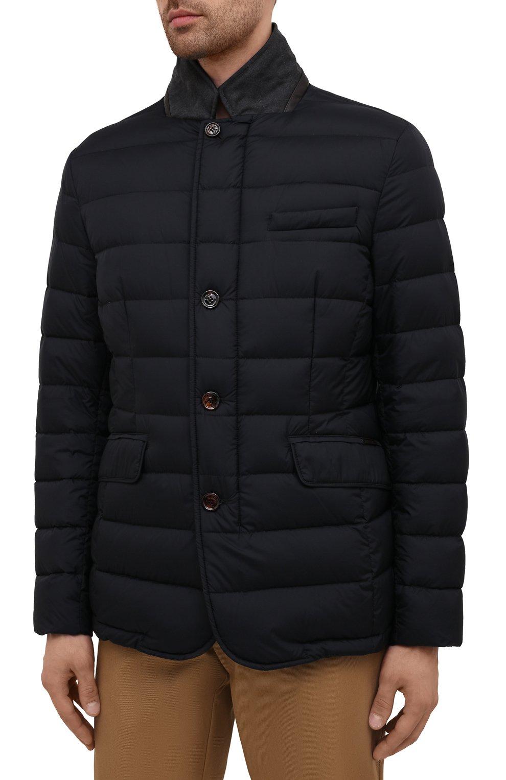 Мужская пуховая куртка zayn-op MOORER темно-синего цвета, арт. ZAYN-0P/M0UGI100307-TEPA017 | Фото 3 (Кросс-КТ: Куртка; Мужское Кросс-КТ: пуховик-короткий; Рукава: Длинные; Материал внешний: Синтетический материал; Материал подклада: Синтетический материал; Длина (верхняя одежда): Короткие; Материал утеплителя: Пух и перо; Стили: Кэжуэл)