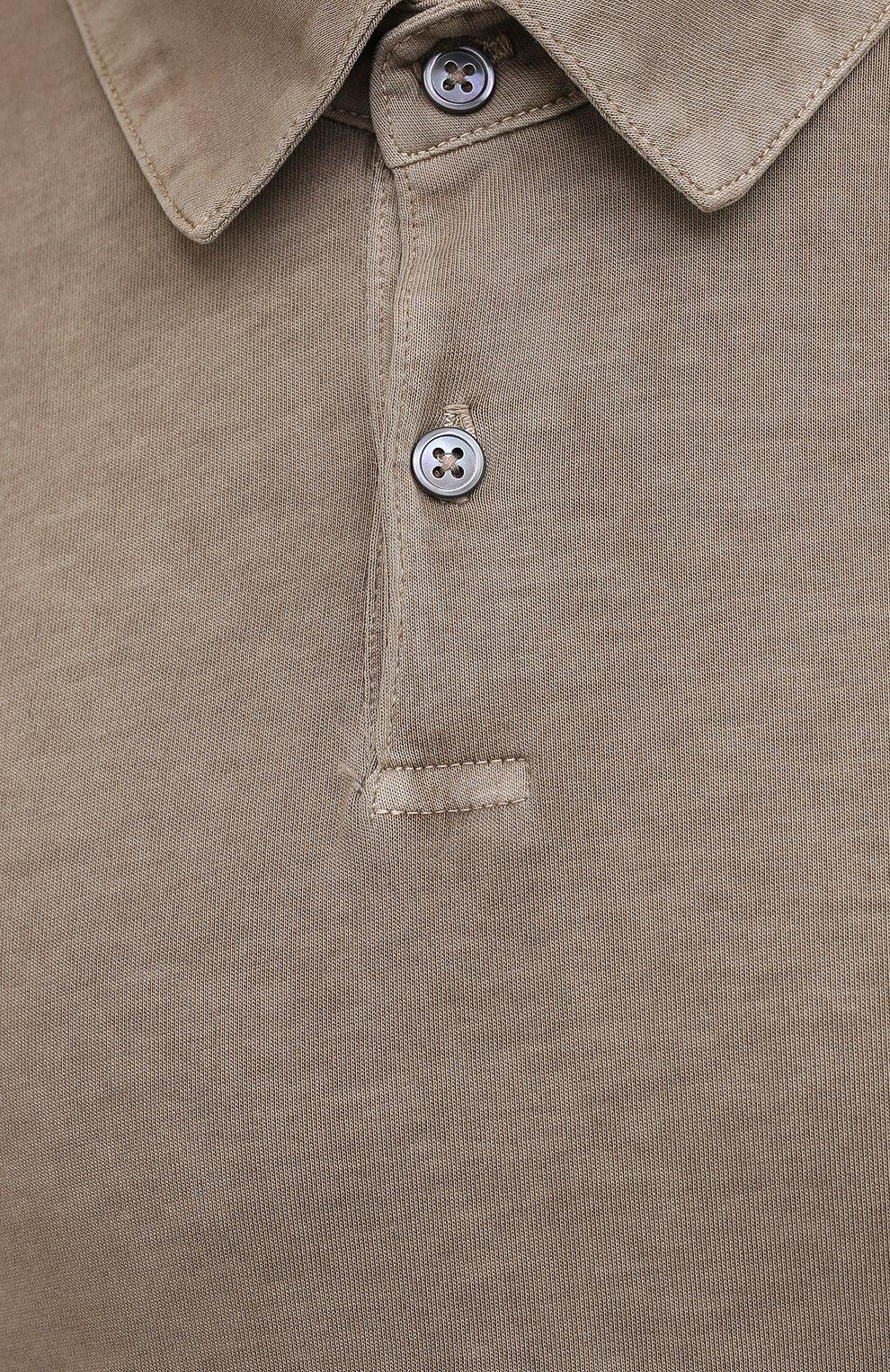 Мужское хлопковое поло JAMES PERSE бежевого цвета, арт. MSX3337 | Фото 5 (Застежка: Пуговицы; Рукава: Короткие; Длина (для топов): Удлиненные; Кросс-КТ: Трикотаж; Материал внешний: Хлопок; Стили: Кэжуэл)