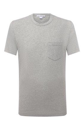 Мужская хлопковая футболка JAMES PERSE серого цвета, арт. MHE3282 | Фото 1 (Принт: Без принта; Рукава: Короткие; Длина (для топов): Стандартные; Материал внешний: Хлопок; Стили: Кэжуэл)