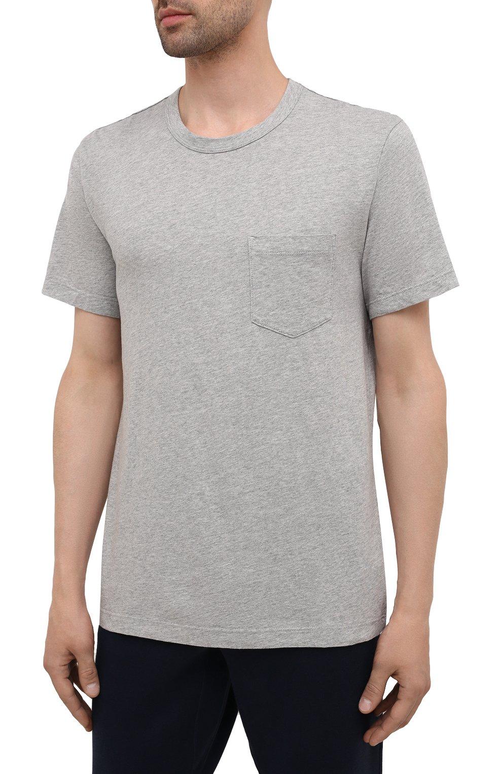 Мужская хлопковая футболка JAMES PERSE серого цвета, арт. MHE3282 | Фото 3 (Принт: Без принта; Рукава: Короткие; Длина (для топов): Стандартные; Материал внешний: Хлопок; Стили: Кэжуэл)