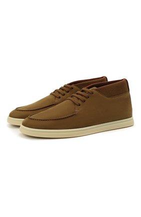 Мужские кожаные ботинки soho LORO PIANA хаки цвета, арт. FAL2903 | Фото 1 (Материал внутренний: Натуральная кожа; Мужское Кросс-КТ: Ботинки-обувь, Дезерты-обувь; Подошва: Плоская)