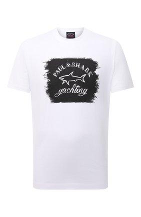 Мужская хлопковая футболка PAUL&SHARK белого цвета, арт. 11311604/C00 | Фото 1 (Материал внешний: Хлопок; Длина (для топов): Стандартные; Рукава: Короткие; Стили: Кэжуэл; Принт: С принтом)