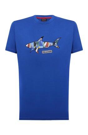 Мужская хлопковая футболка PAUL&SHARK синего цвета, арт. 21411097/C00 | Фото 1