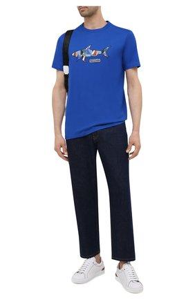 Мужская хлопковая футболка PAUL&SHARK синего цвета, арт. 21411097/C00 | Фото 2