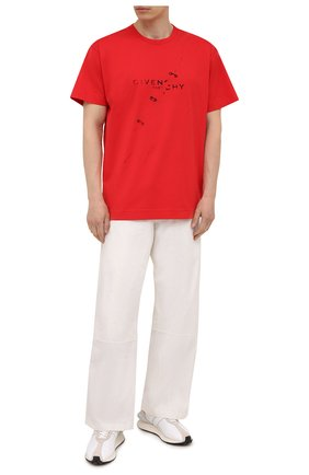 Мужская хлопковая футболка GIVENCHY красного цвета, арт. BM71333Y6B | Фото 2 (Материал внешний: Хлопок; Длина (для топов): Стандартные; Стили: Кэжуэл; Рукава: Короткие; Принт: С принтом)