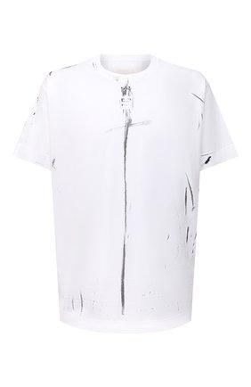 Мужская хлопковая футболка GIVENCHY белого цвета, арт. BM712W3Y6B | Фото 1 (Материал внешний: Хлопок; Стили: Кэжуэл; Рукава: Короткие; Принт: С принтом; Длина (для топов): Удлиненные)