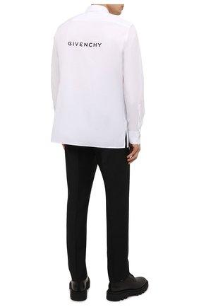 Мужская хлопковая рубашка GIVENCHY белого цвета, арт. BM60QJ109F   Фото 2