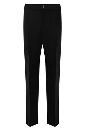 Мужские шерстяные брюки GIVENCHY черного цвета, арт. BM50TJ100H | Фото 1 (Материал внешний: Шерсть; Случай: Повседневный; Стили: Кэжуэл; Материал подклада: Синтетический материал; Длина (брюки, джинсы): Стандартные)