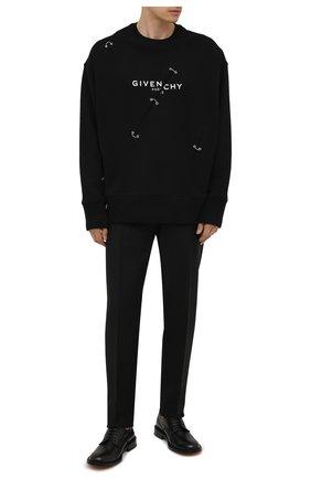 Мужские шерстяные брюки GIVENCHY черного цвета, арт. BM50TJ100H | Фото 2 (Материал внешний: Шерсть; Случай: Повседневный; Стили: Кэжуэл; Материал подклада: Синтетический материал; Длина (брюки, джинсы): Стандартные)