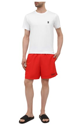 Мужские плавки-шорты CALVIN KLEIN красного цвета, арт. KM0KM00552   Фото 2 (Материал внешний: Синтетический материал)