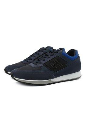 Мужские комбинированные кроссовки HOGAN темно-синего цвета, арт. HXM3210K790QCG | Фото 1
