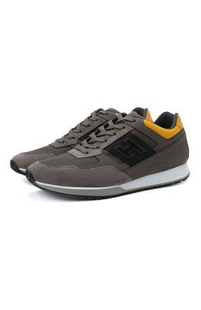 Мужские комбинированные кроссовки HOGAN серого цвета, арт. HXM3210K790QCG | Фото 1