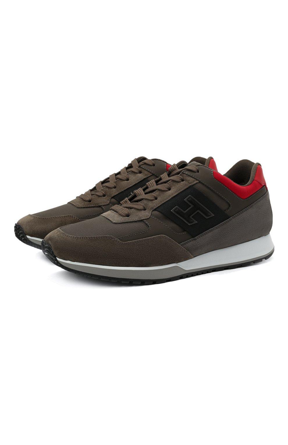 Мужские комбинированные кроссовки HOGAN хаки цвета, арт. HXM3210K790QCG   Фото 1 (Материал внешний: Текстиль; Материал внутренний: Натуральная кожа, Текстиль; Подошва: Массивная)